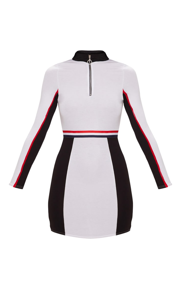 White Sports Stripe Zip Detail Dress 3