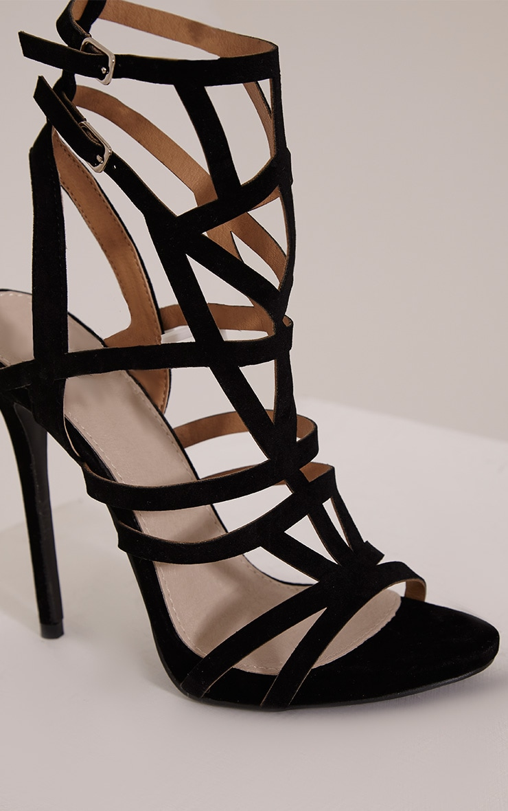 Sami Black Faux Suede Cut Out Heeled Sandals 5