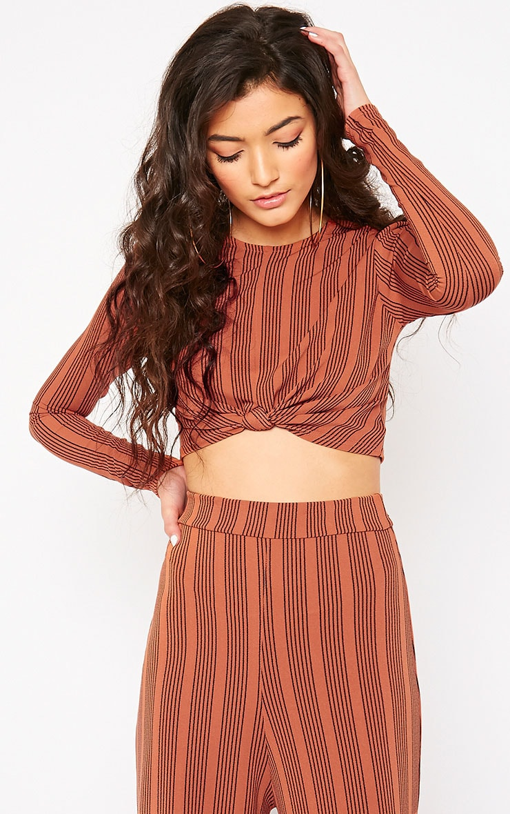 cd2474fa6ac Zafia Rust Stripe Knot Front Crop Top | PrettyLittleThing USA