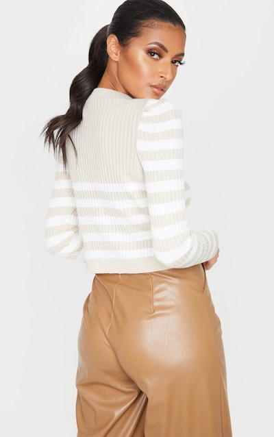 Stone Puff Sleeve Stripe Knitted Crop Jumper