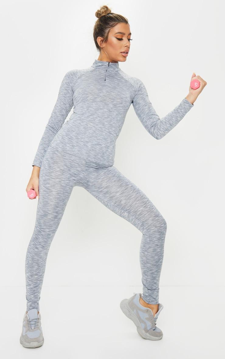 Light Grey Marl High Waist Gym Legging 1