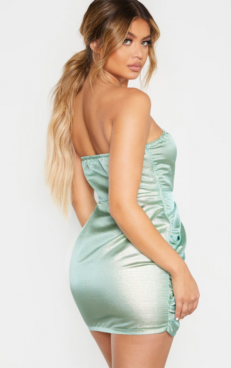 Mint Textured Glitter V Bar Bandeau Ruched Bodycon Dress 2