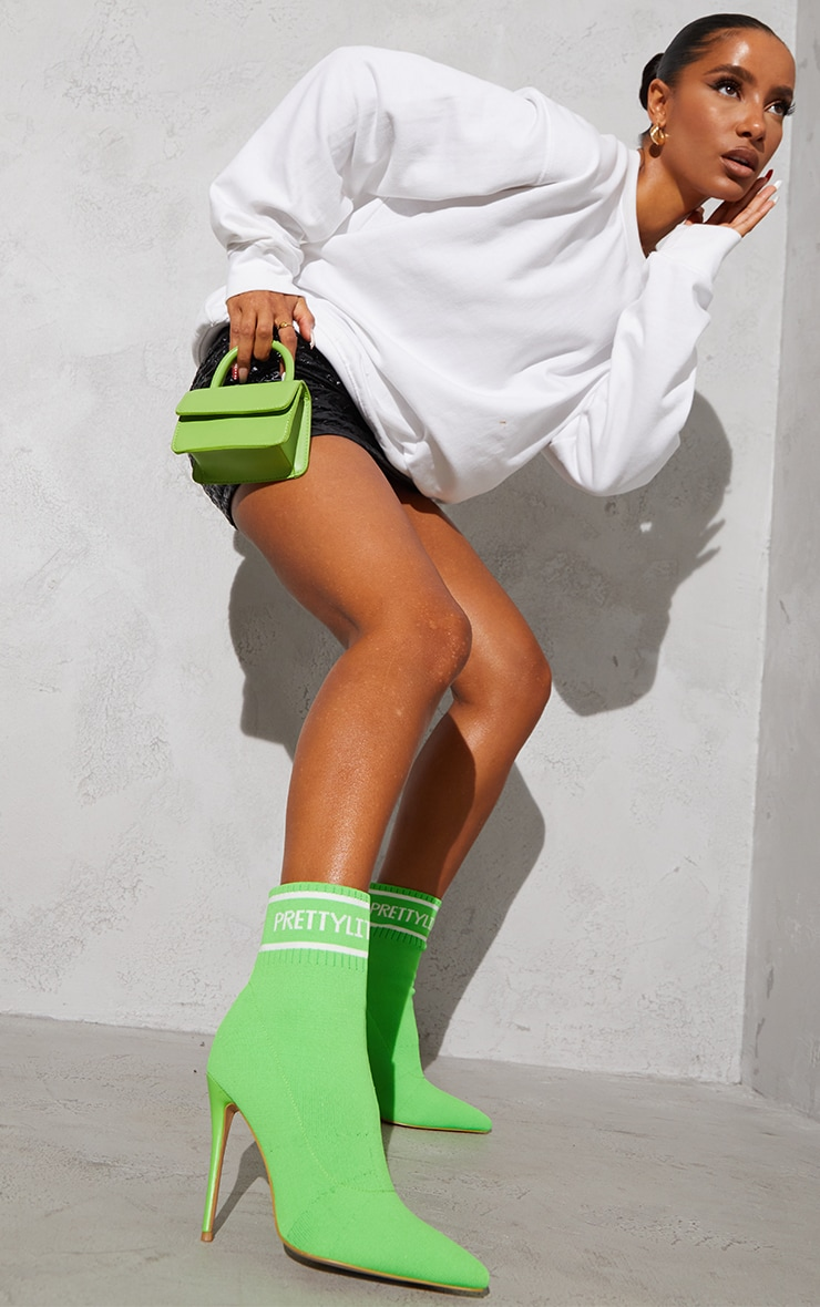 PRETTYLITTLETHING Neon Green Knitted Pointed Sock Boots 2