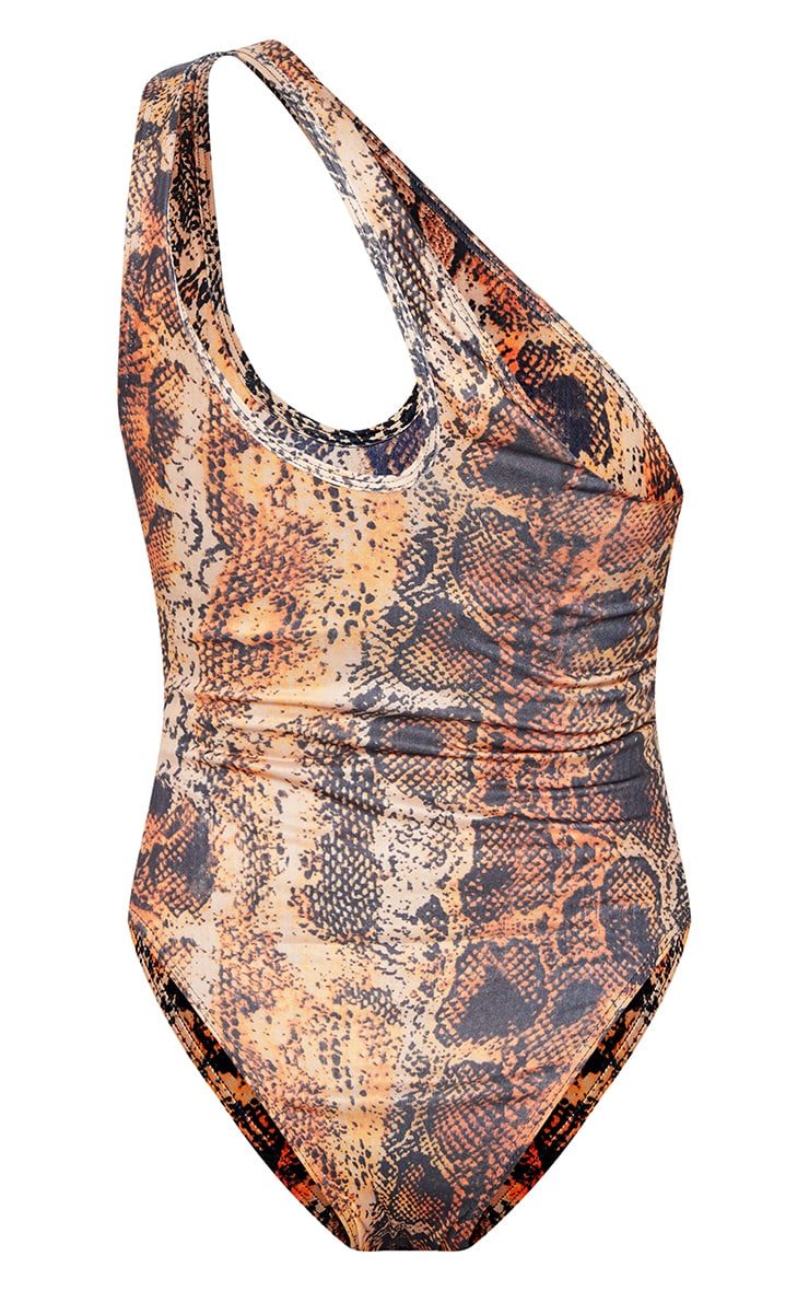Multi Snake One Shoulder Cut Out Swimsuit 6