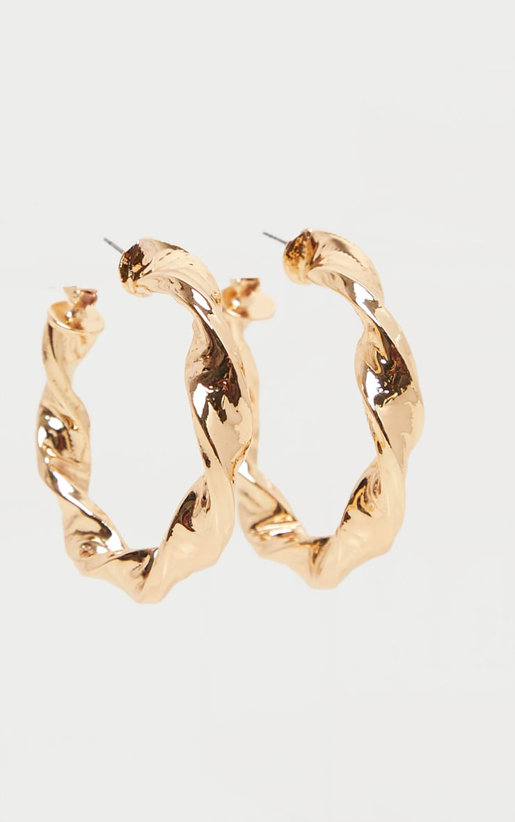 Gold Chunky Twist Hoop Earrings 2