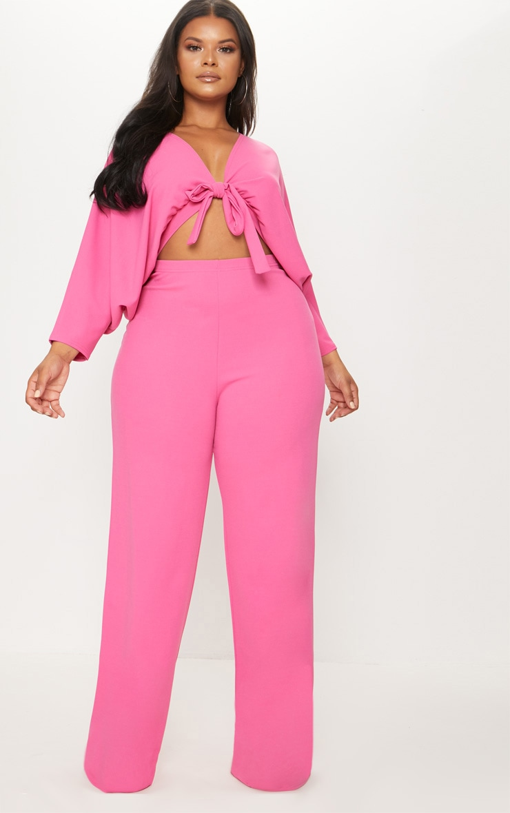 Plus Hot Pink Crepe Batwing Cut Out Jumpsuit 1