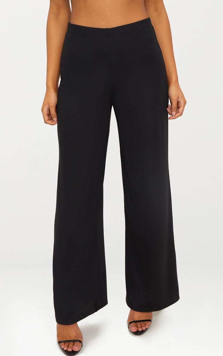 Black Sweat Wide Leg Trousers  2