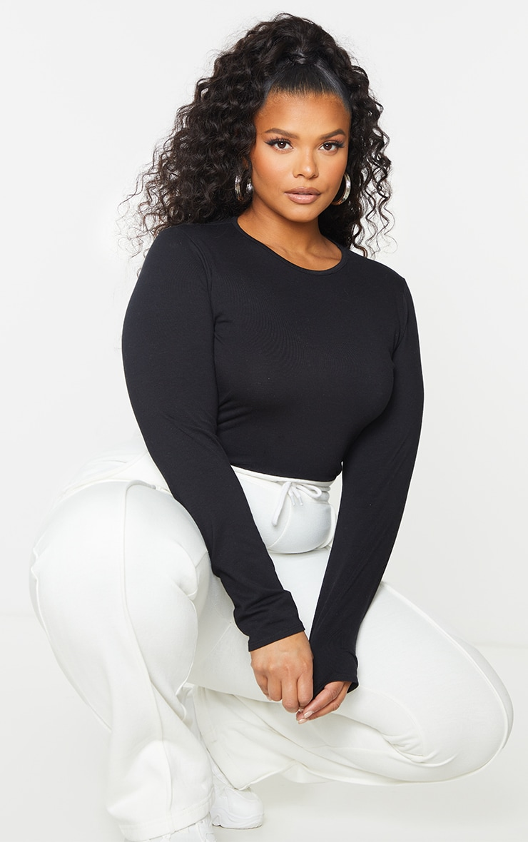 Plus Black Cotton Blend Fitted Long Sleeve T Shirt