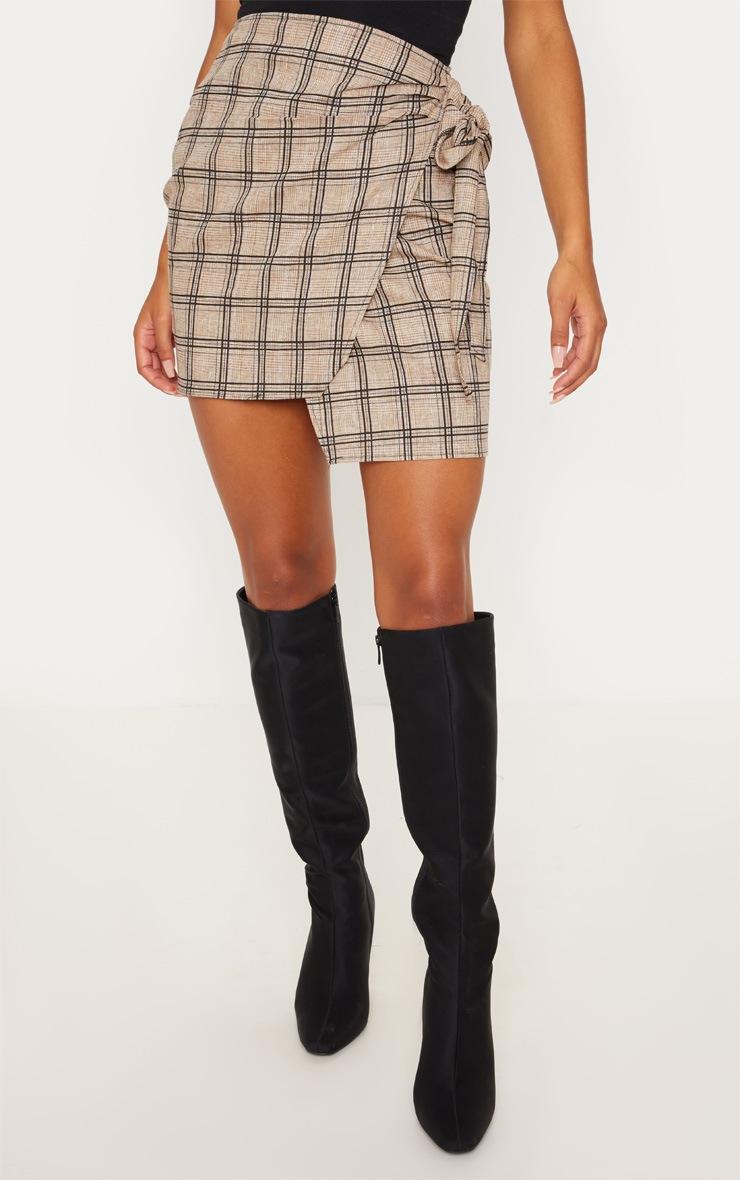 Stone Check Wrap Tie Skirt 2