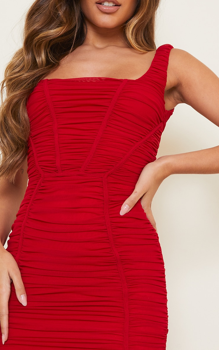 Red Square Neck Mesh Ruched Binding Detail Bodycon Dress 4