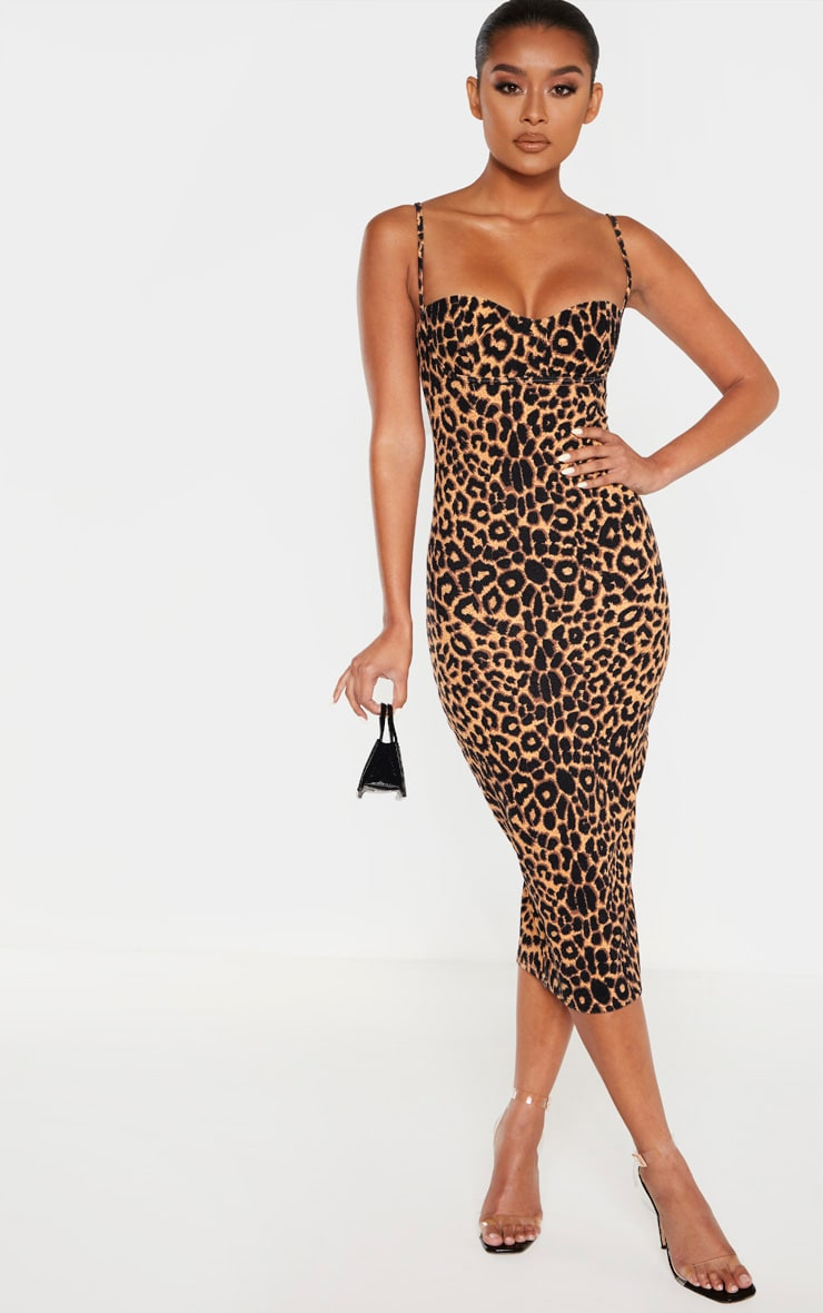 Leopard Print Strappy Cup Detail Midi Dress