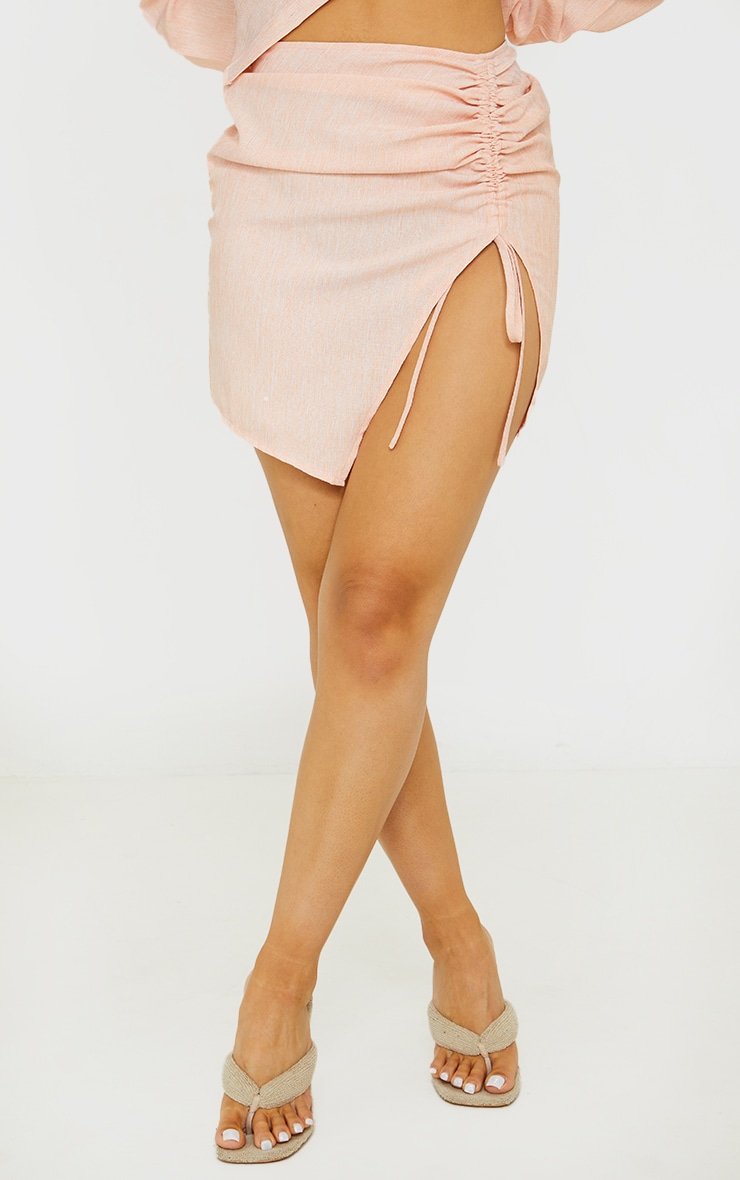 Petite Coral Ruched Bodycon Skirt 2