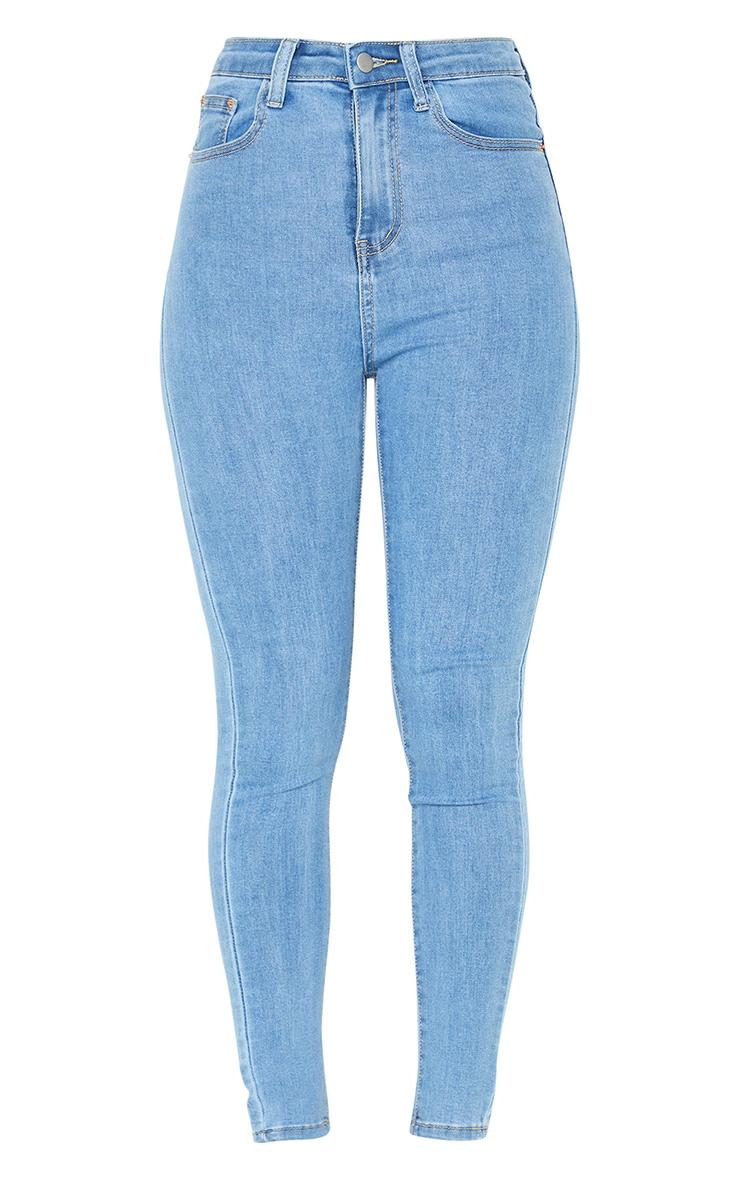 PRETTYLITTLETHING Light Blue Wash Bum Rip 5 Pocket Skinny Jeans 5