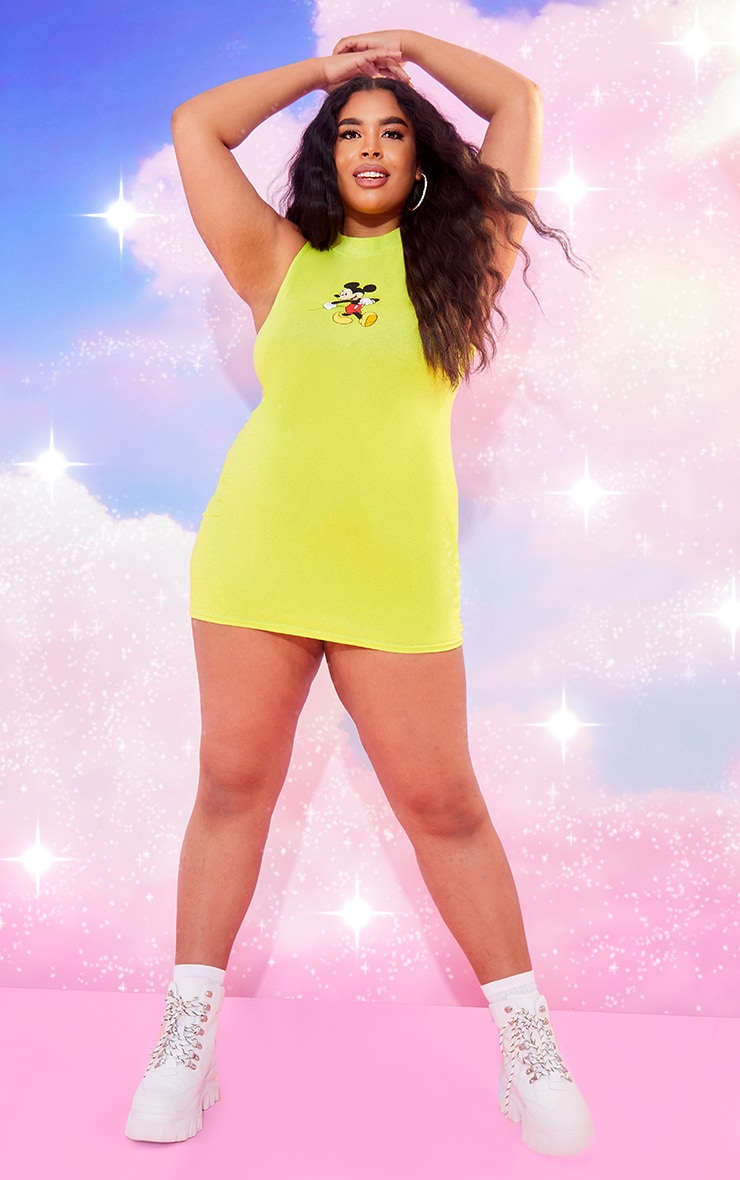 Plus Lime Disney High Neck Bodycon Dress 3