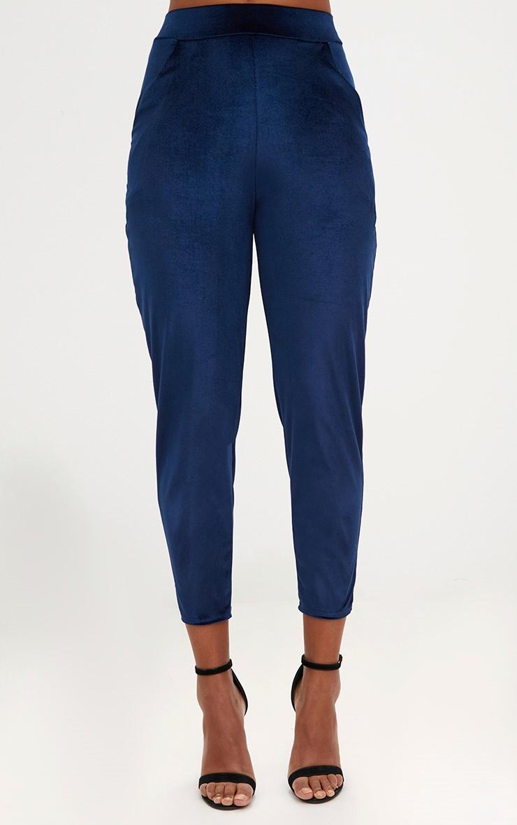 Navy Velvet Slim Leg Trousers 2