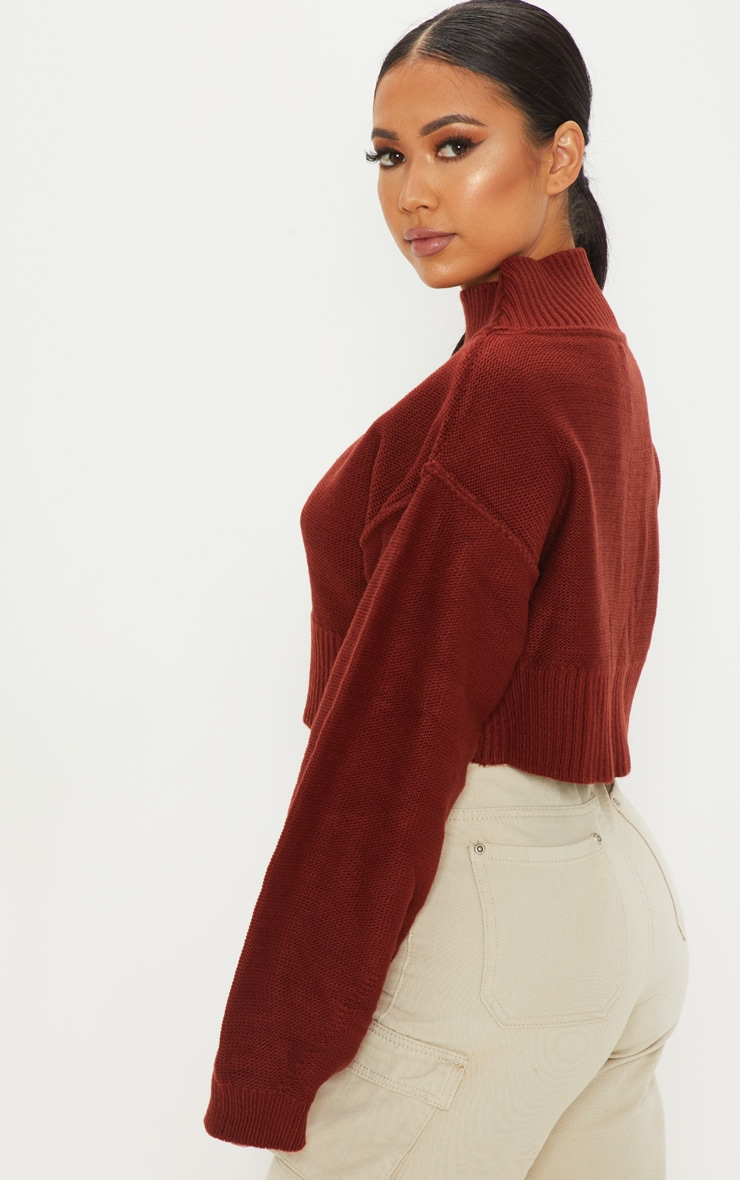 Petite Rust Cropped Sweater 2