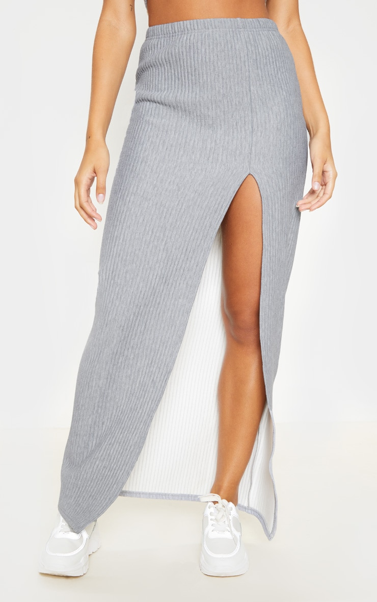 Grey Jumbo Rib Split Detail Maxi Skirt 2