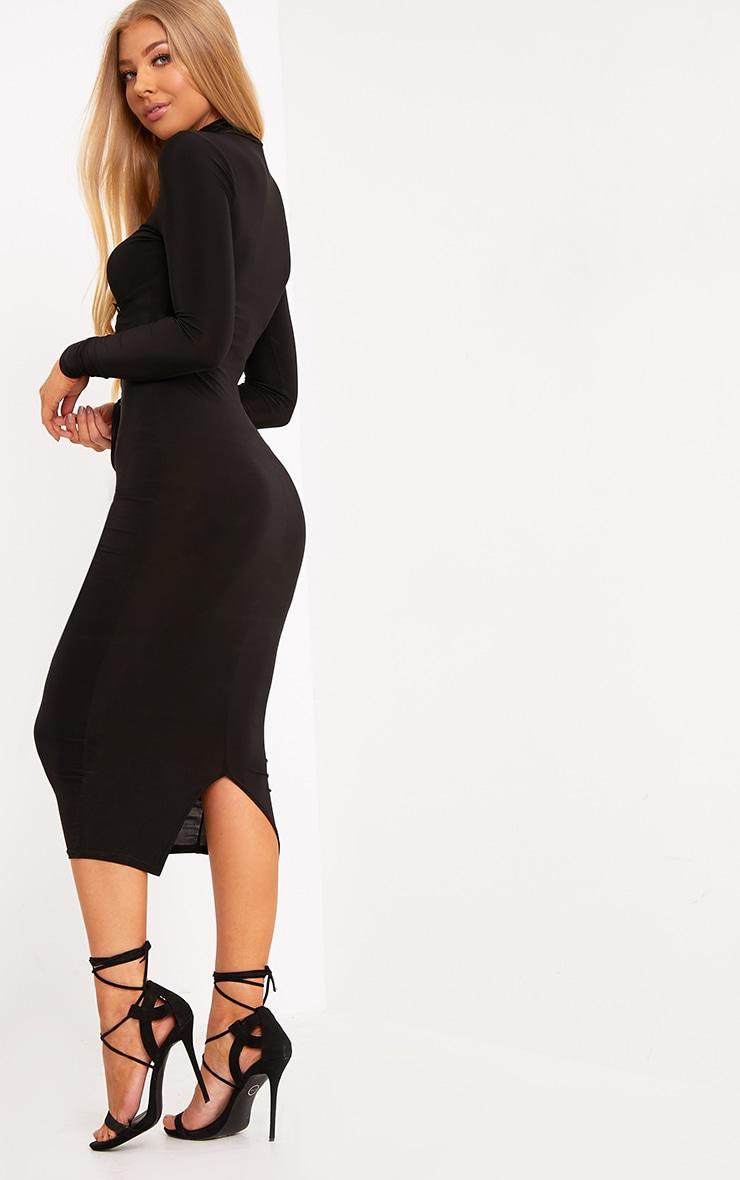 Tasmine Black Slinky Corset Detail Midi Dress 2