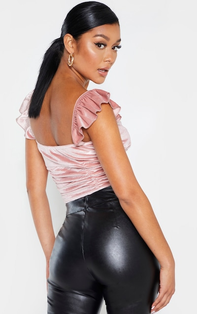Dusty Pink Velvet Lace Up Ruched Detail Crop Top
