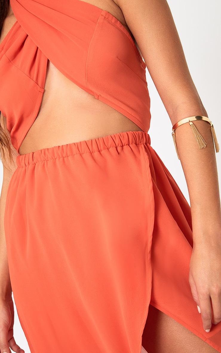 Orange Halterneck Maxi Dress 5