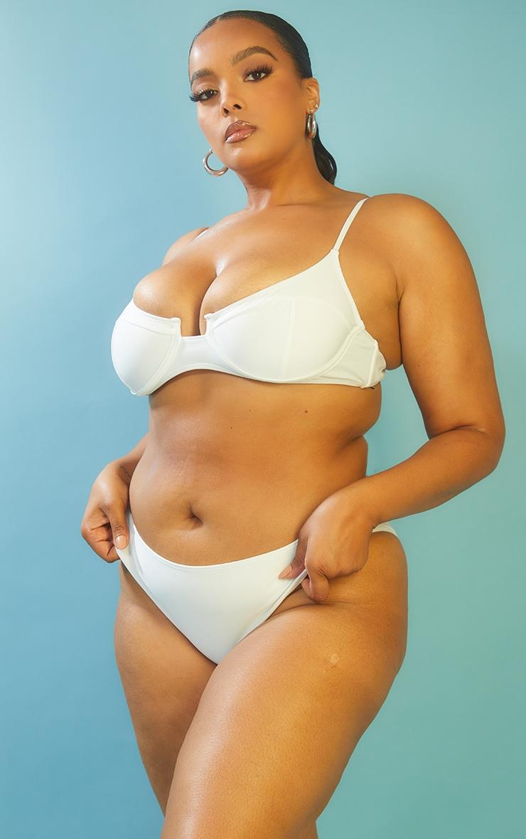 Recycled Plus White Mix & Match Cheeky Bum Bikini Bottoms 2