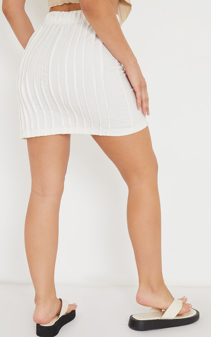 Cream Seam Detail Split Hem Mini Skirt 3