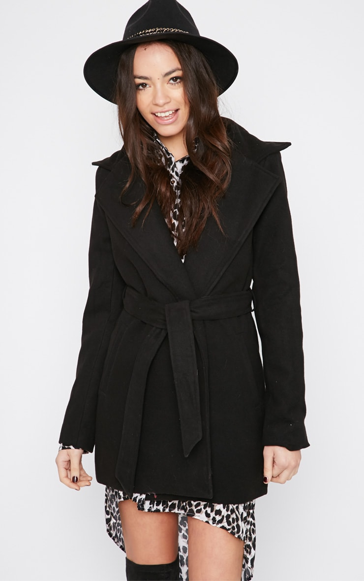 Shona Black Notched Collar Wool Coat  1