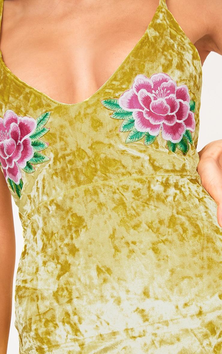Yellow Velvet Applique Bodycon Dress  5