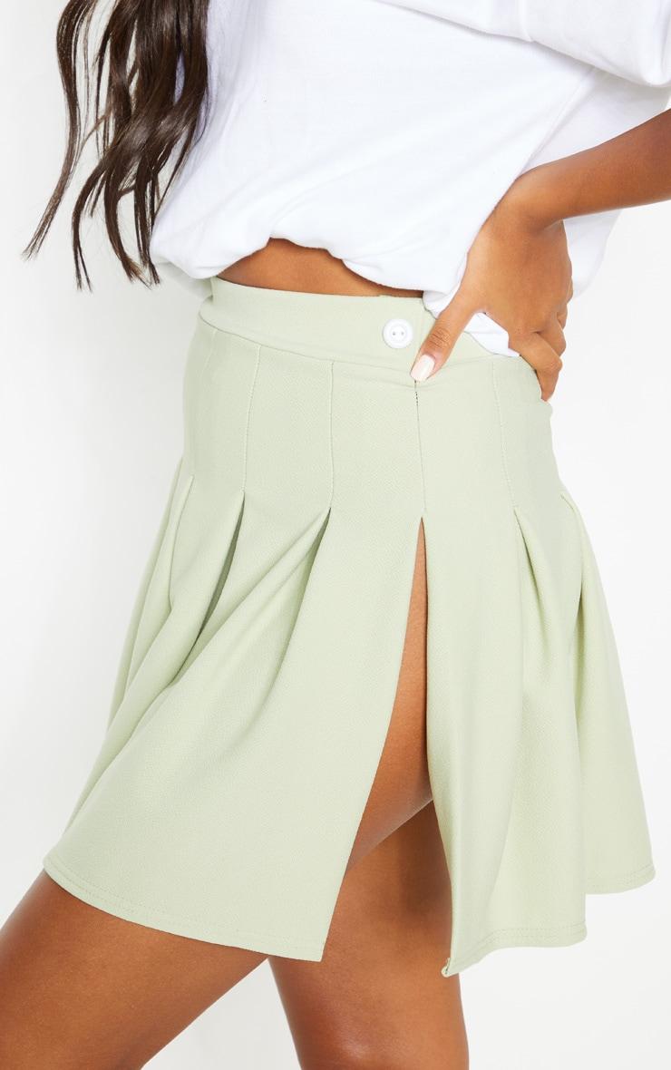 Sage Khaki Pleated Side Split Tennis Skirt 6