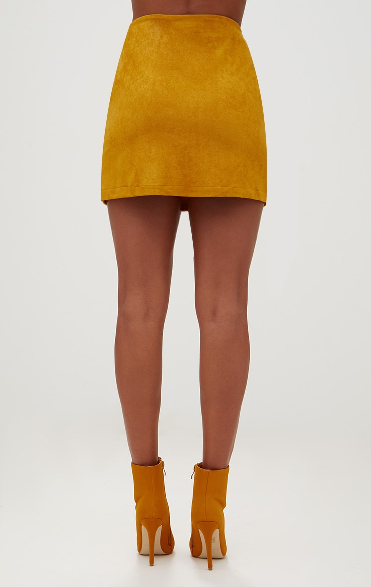 Mustard Faux Suede Lace Up Mini Skirt  4