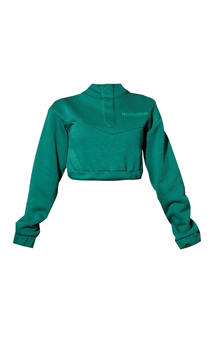 PRETTYLITTLETHING Forest Green Embroidered Elastic Hem Cropped Hoodie 5