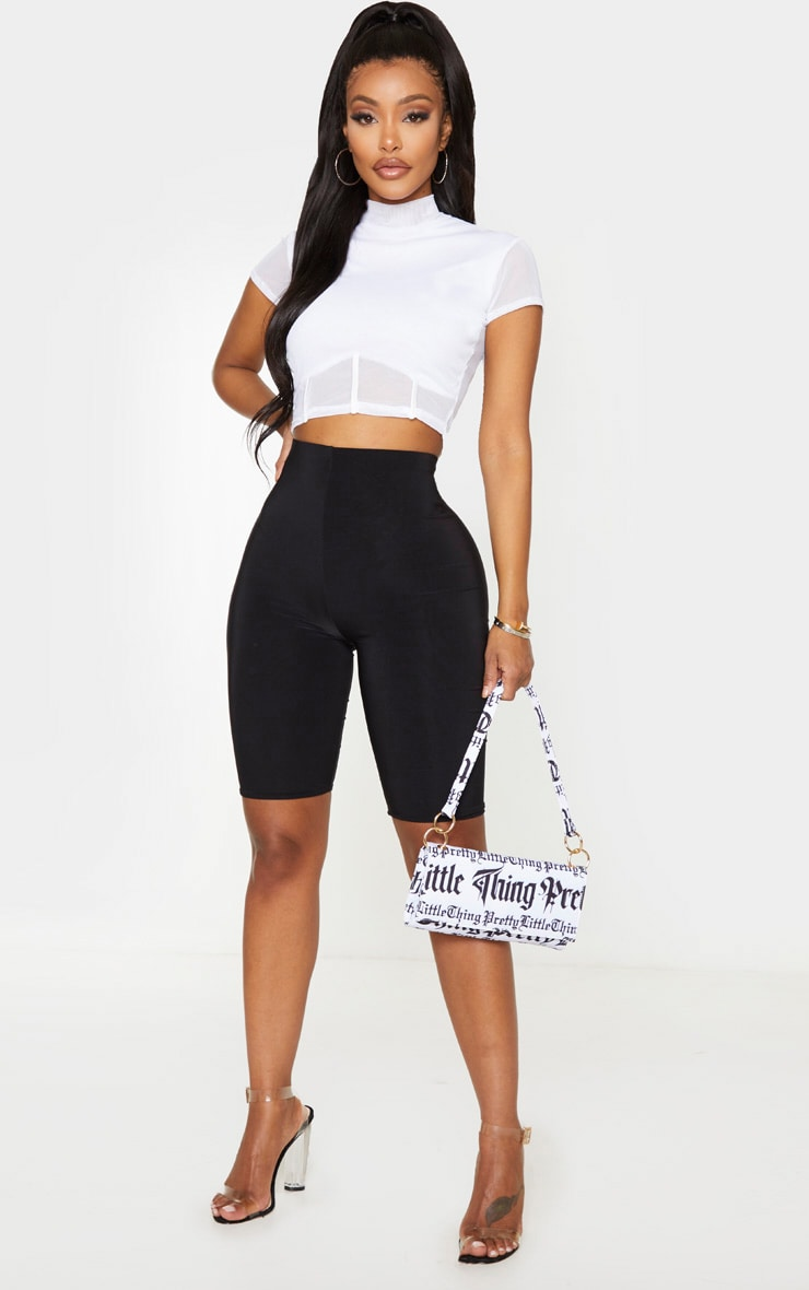 Shape White Mesh Panelled High Neck Crop Top 4