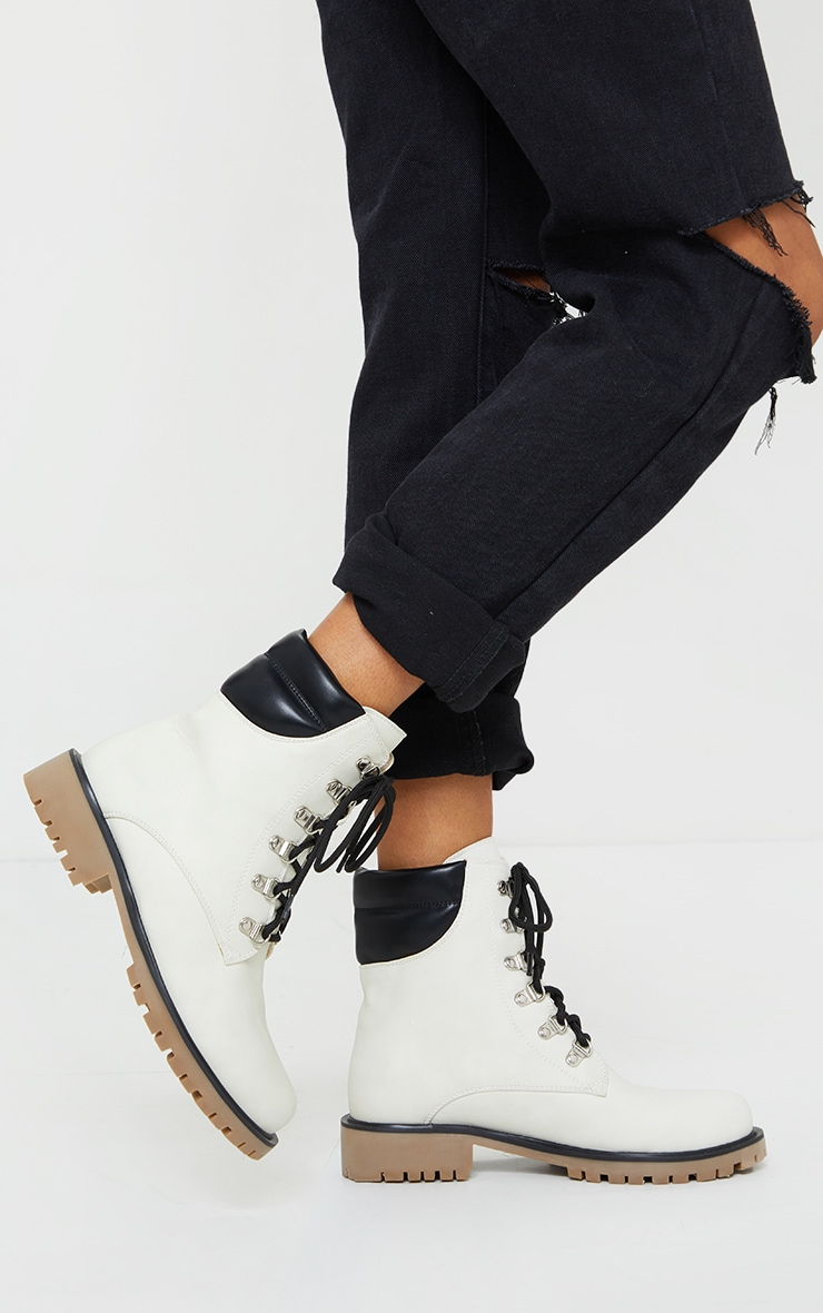 White Suede Contrast Pu Back Eyelet Lace Up Boots 1