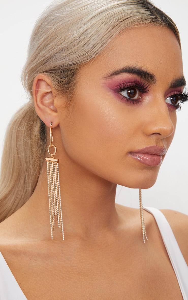 Gold Circle Chain Tassel Drop Earrings