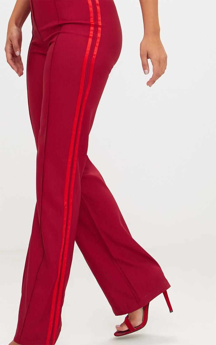 Burgundy Track Stripe High Waisted Straight Leg Trousers 5
