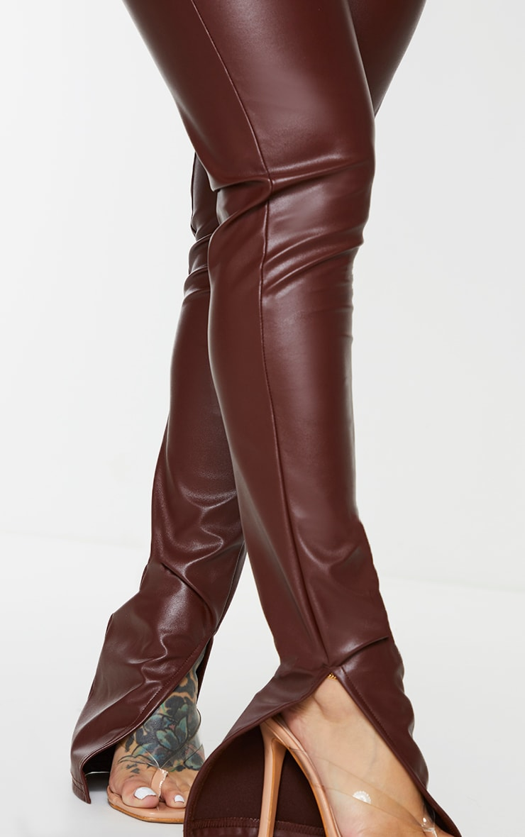 Shape Chocolate Brown PU Split Hem Trousers 4