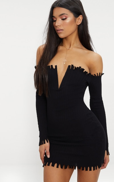 Stone Ribbed Bardot Raw Edge Detail Bodycon Dress Pretty Little Thing VUnUMUFwKy