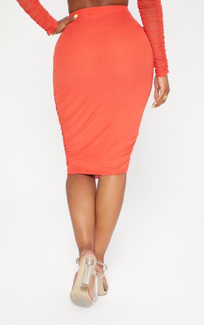 Shape Orange Mesh Ruched Midi Skirt 4