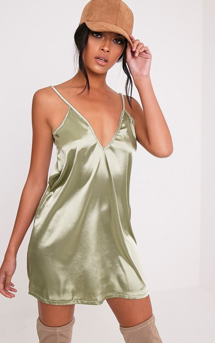 Erin Sage Green Plunge Satin Slip Dress 1