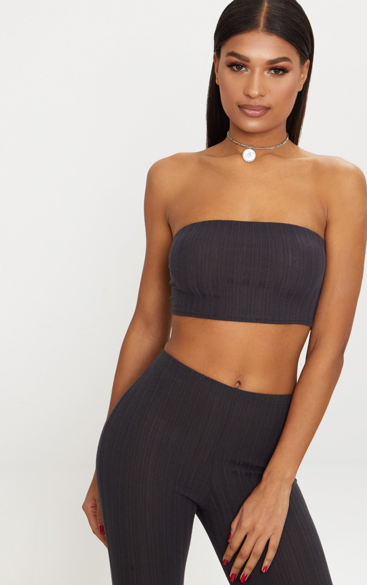 Charcoal Grey Rib Bandeau Top 1