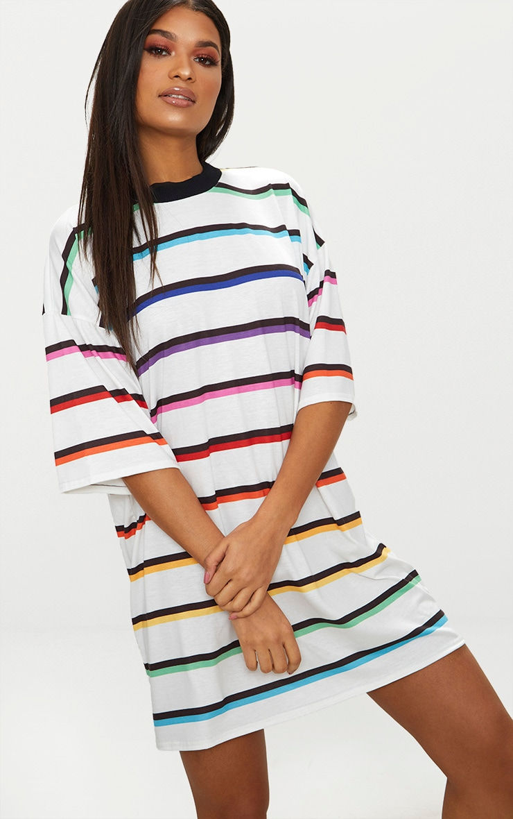 White Rainbow Stripe T Shirt Dress  4