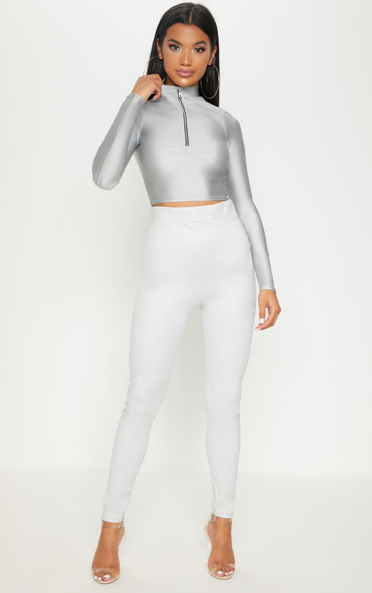 Silver Scuba Wet Look Legging