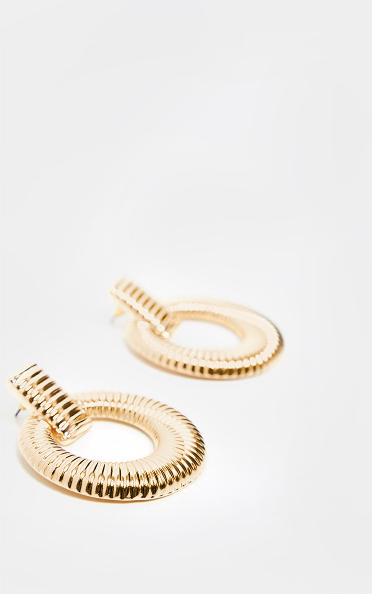 Gold Door Knocker Ribbed Hoops 3