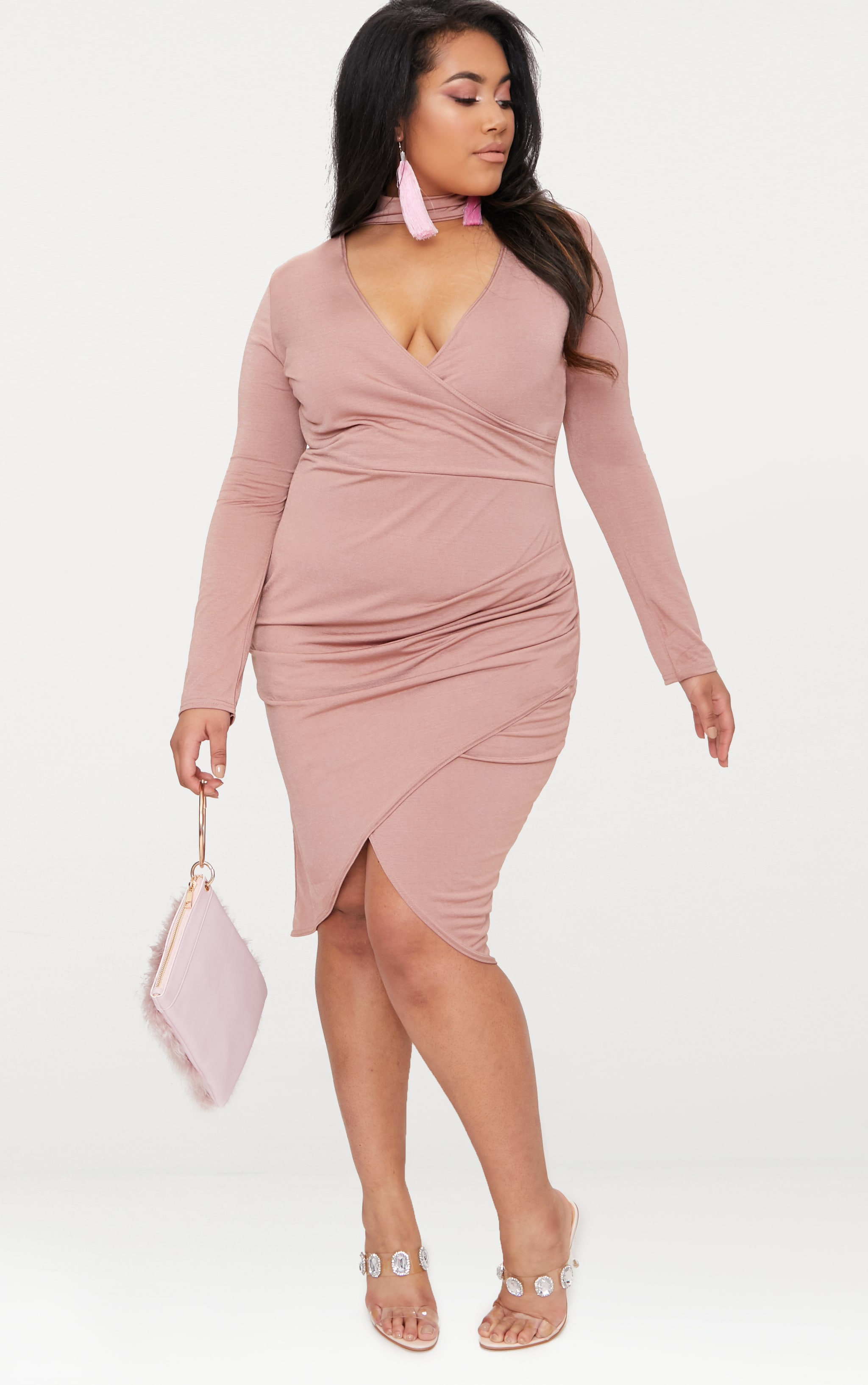 Plus Rose Slinky Wrap Dress 5