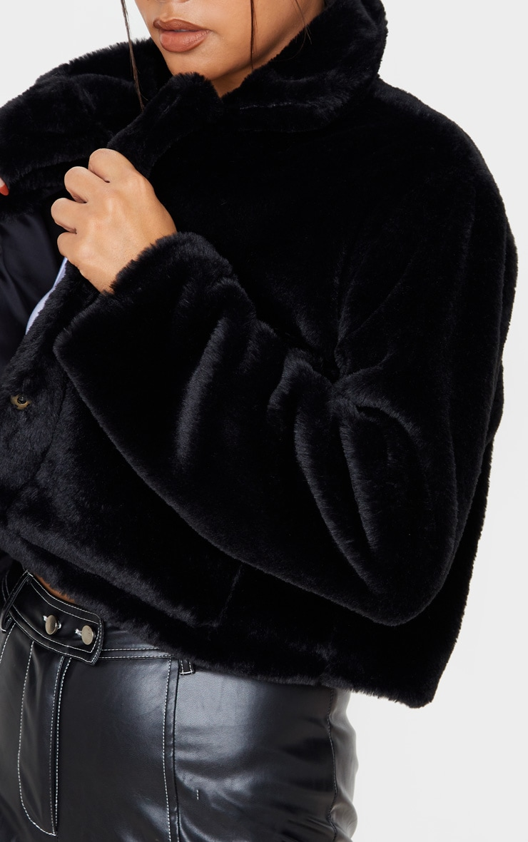 Black Faux Fur Cropped Pocket Jacket 5