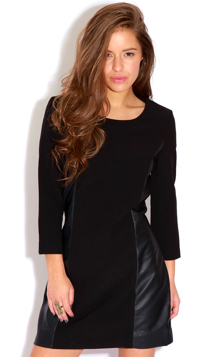 Jemma Leather Panel Dress 1