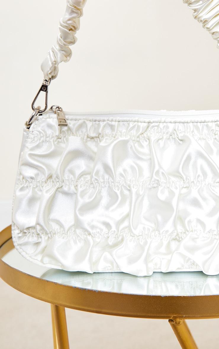 Cream Ruched Handle Shoulder Bag 3