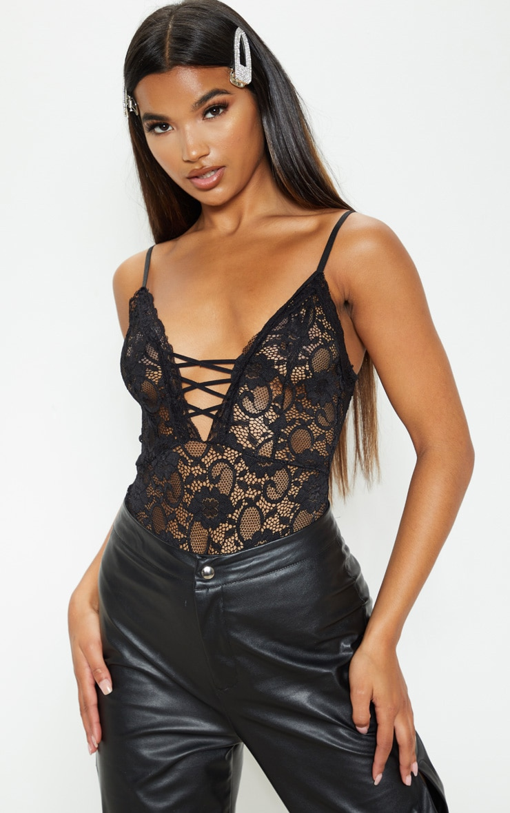 Black Lace Up Front Lace Bodysuit 1