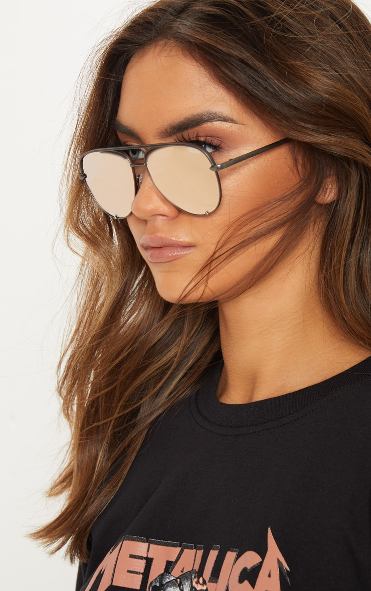 QUAY AUSTRALIA Rose And Gunmetal X Desi Collaboration High Key Mini Sunglasses