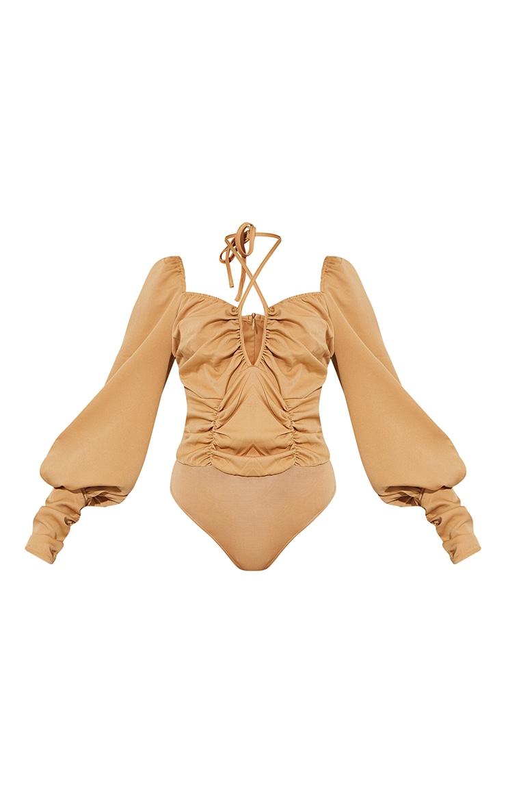 Taupe Woven Halterneck Long Sleeve Bodysuit 5